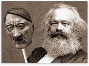 polilogismo - Marx con mascara Hitler